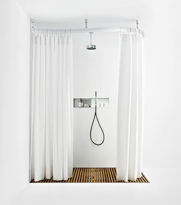 Cooper Open Configuration featuring Fez Tap & Artedomus: Cooper Shower Curtains