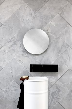Elba honed & sandblasted with Agape Vieques basin, Bucatini mirror with Sen tap & shelf.jpg