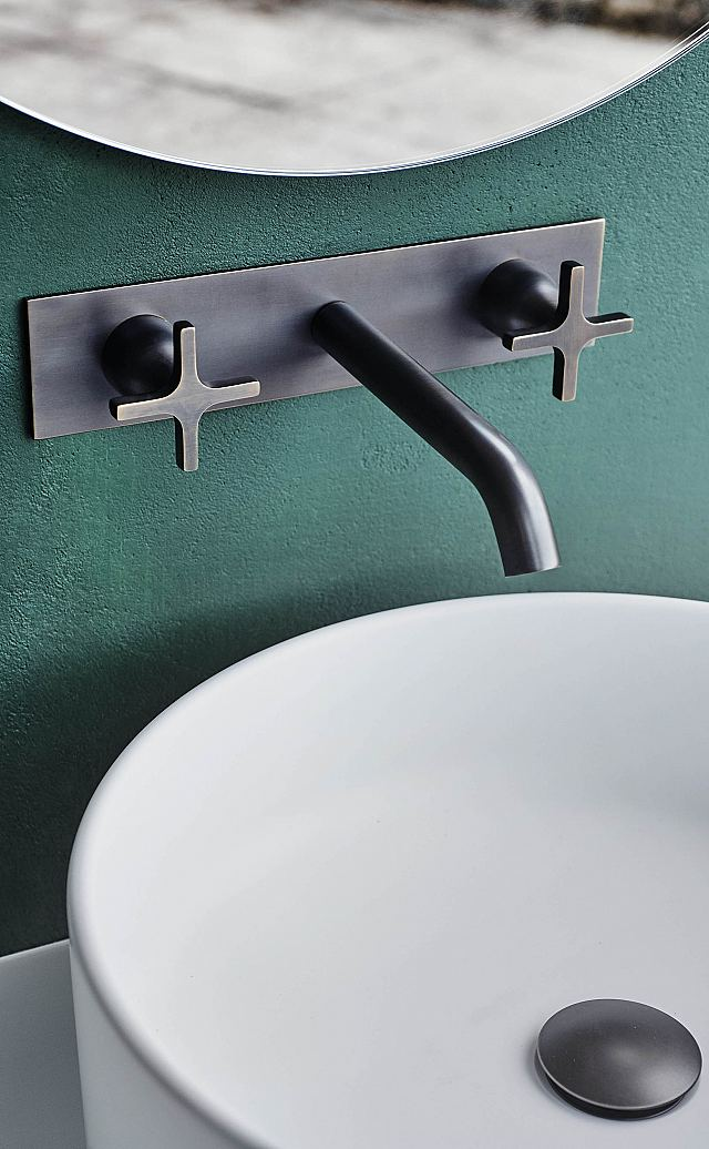 Memory Wall Mounted Dual Control Taps For Basins in Brushed Burnished Brass.jpg