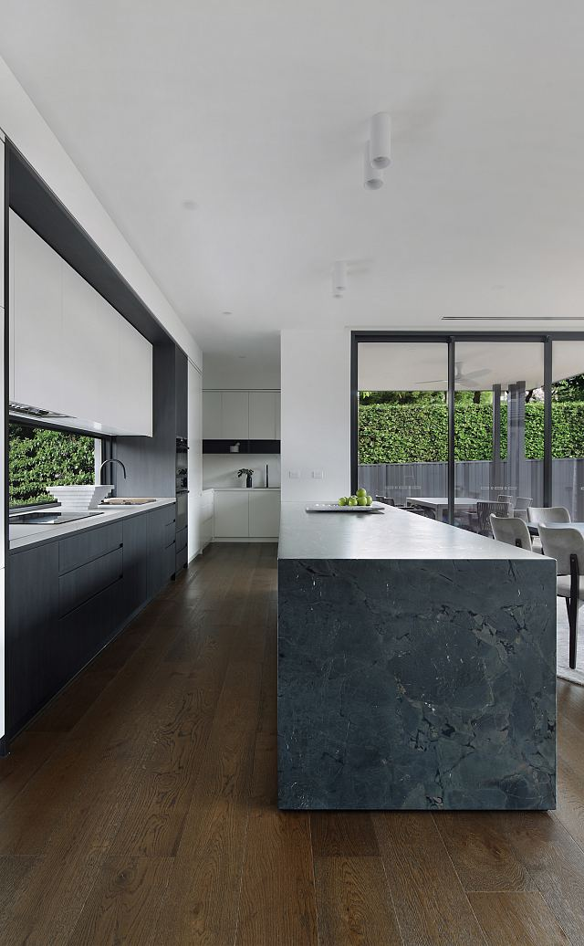 Magnesia Brushed 12mm kitchen island benchtop. Ashburton Residence by De Arch Architects