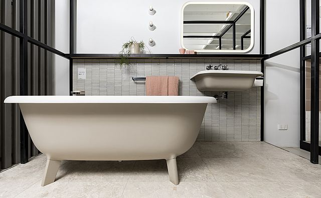 Grigio Orsola Honed floor with Yohen Border YB102 mosaic wall and Agape Ottocento bath and basin with Memory illuminated mirror.jpg