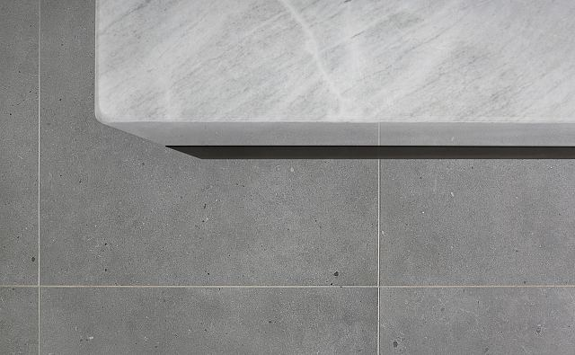 Fjord Grey Natural to floor and Elba Honed marble to vanity. Ashburton Residence by De Arch Architects